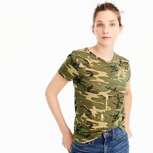 J. Crew Green Gold Splatter Camo Tee T-Shirt Top